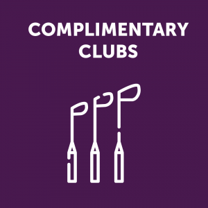 Complimentary Golf Clubs Sign
